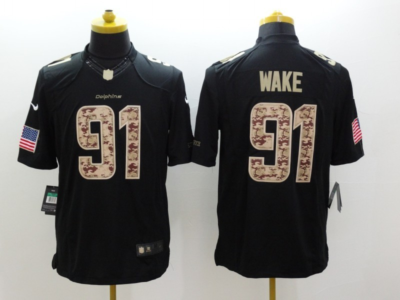 Miami Dolphins 91 Cameron Wake Black 2014 Nike Salute TO Service Jersey