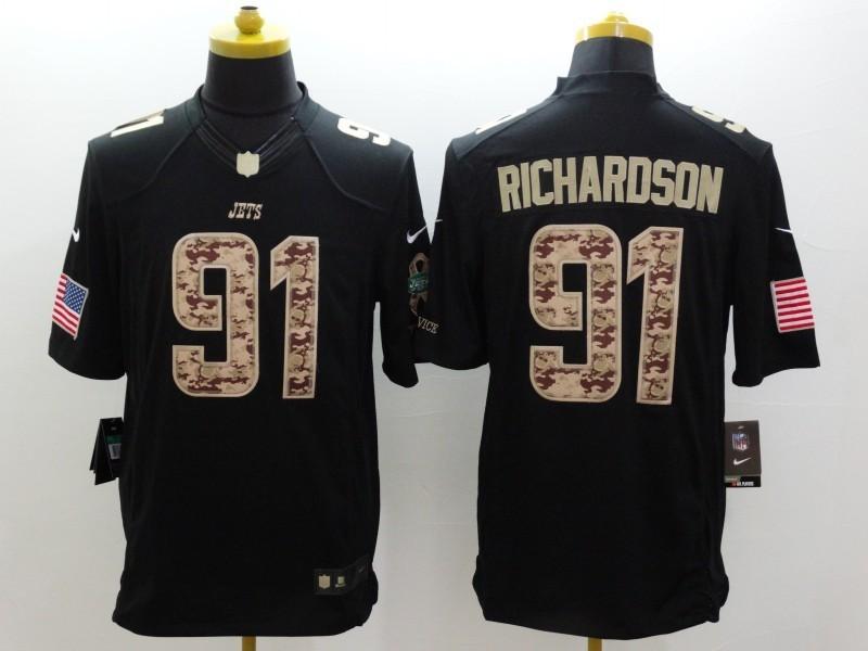 New York Jets 91 Richardson Black 2014 Nike Salute TO Service Jersey