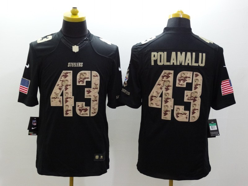 Pittsburgh Steelers 43 Troy Polamalu Black 2014 Nike Salute TO Service Jersey