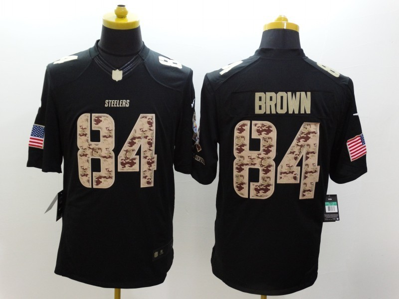 Pittsburgh Steelers 84 Antonio Brown Black 2014 Nike Salute TO Service Jersey