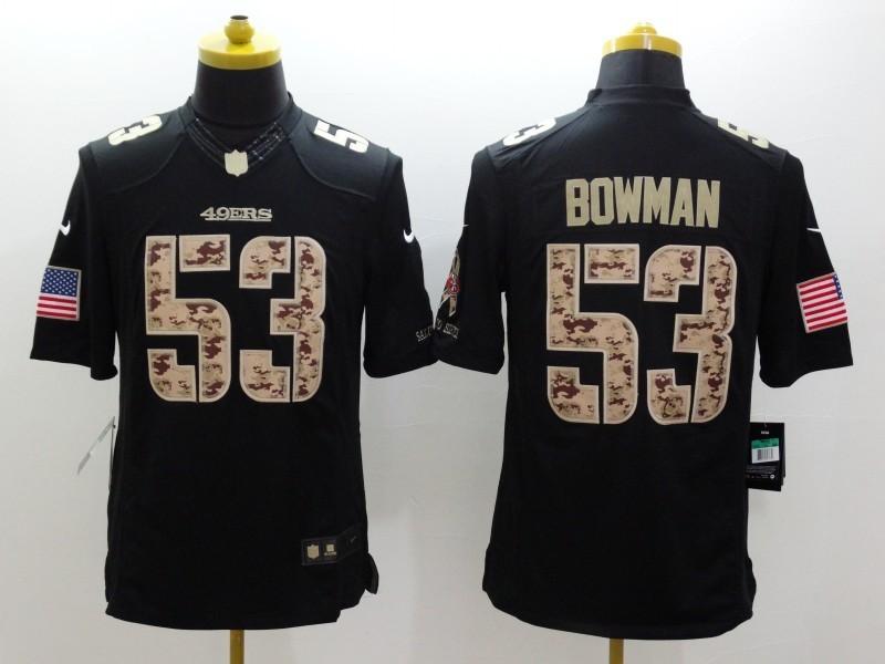 San Francisco 49ers 53 Bowman Black 2014 Nike Salute TO Service Jersey