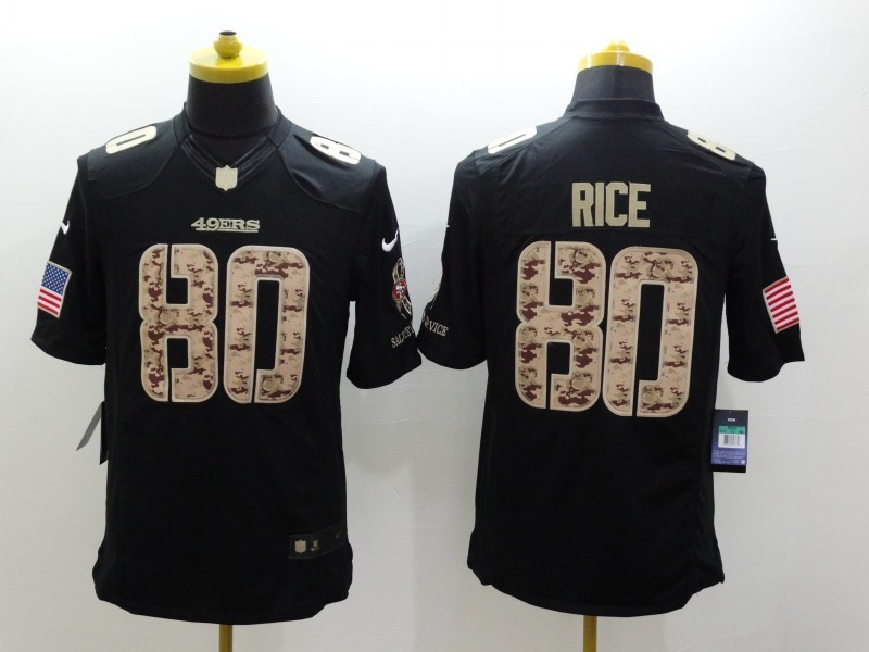 San Francisco 49ers 80 Jerry Rice Black 2014 Nike Salute TO Service Jersey
