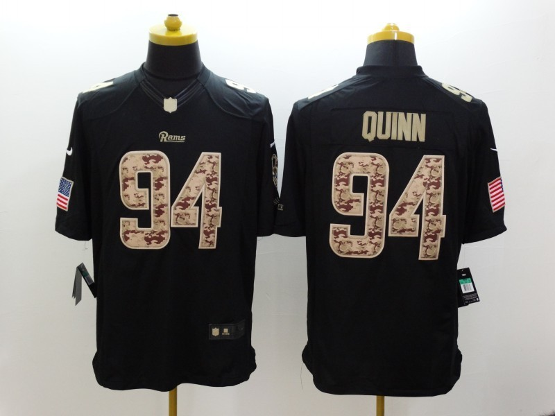 St. Louis Rams 94 Robert Quinn Black 2014 Nike Salute TO Service Jersey