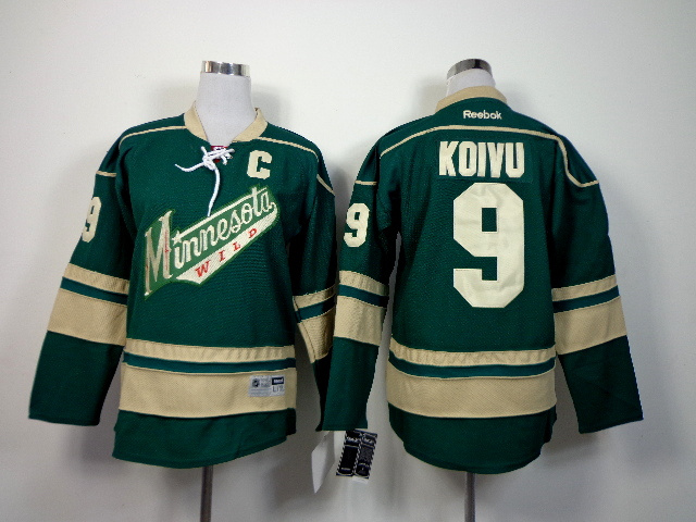 Youth NHL Minnesota Wild 9 Mikko Koivu Green 2014 Jerseys