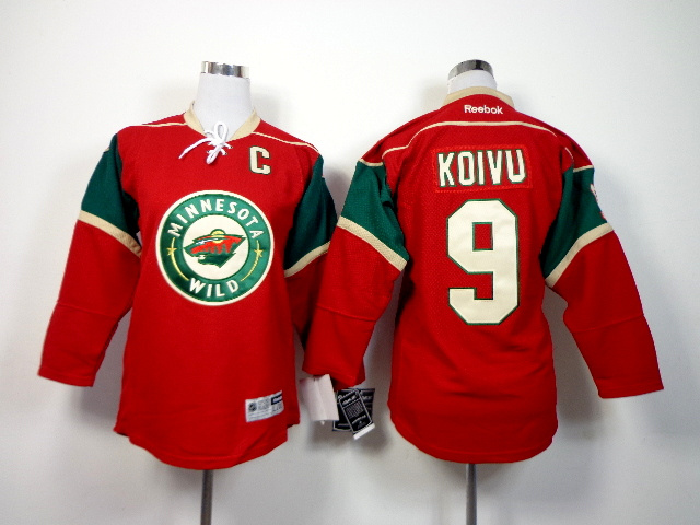 Youth NHL Minnesota Wild 9 Mikko Koivu red 2014 Jerseys