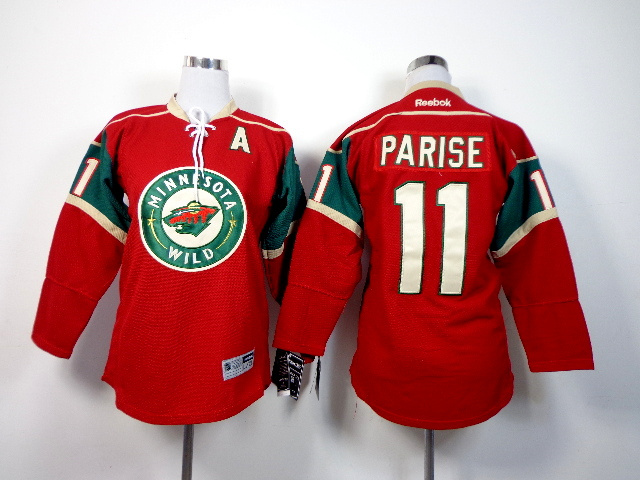 Youth NHL Minnesota Wild 11 Parise red 2014 Jerseys