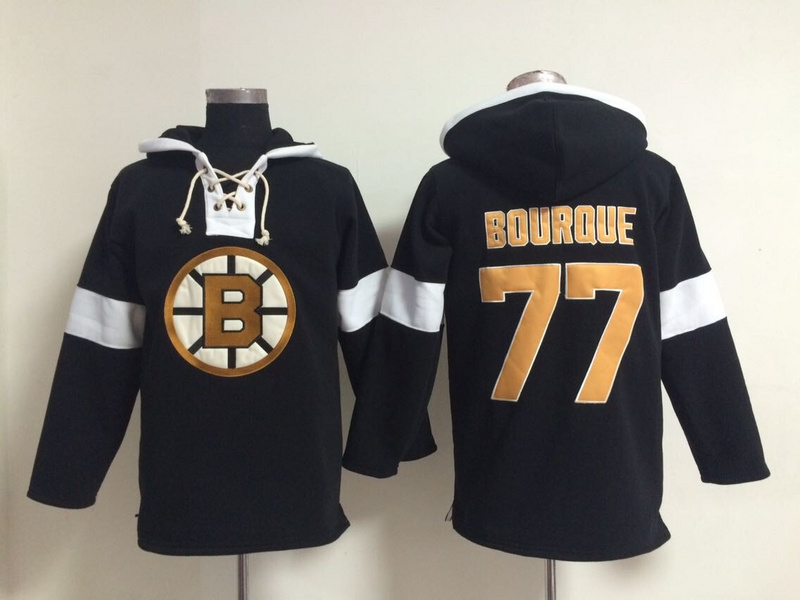 NHL Boston Bruins 77 Bourque Black Pullover Hooded Sweatshirt