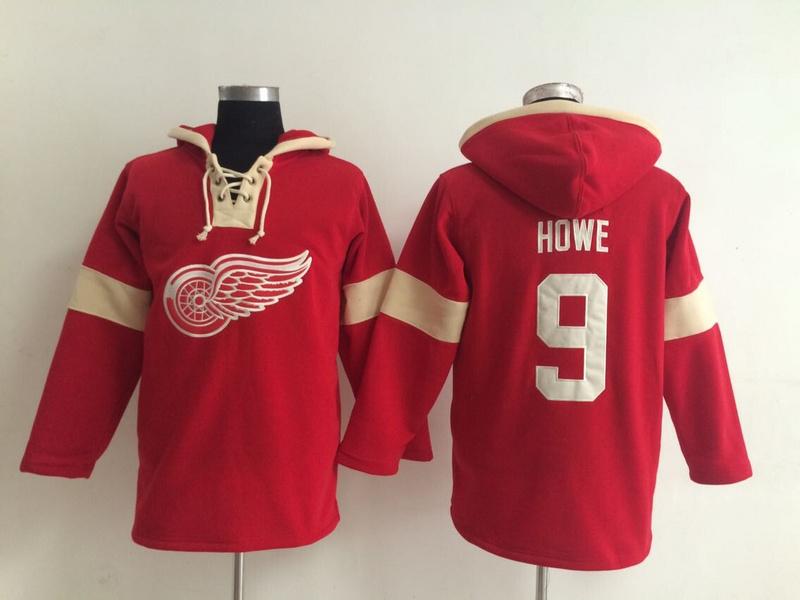 NHL Detroit Red Wings 9 Gordie Howe Red Pullover Hooded Sweatshirt