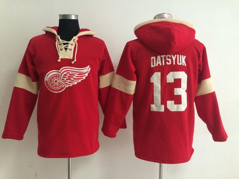 NHL Detroit Red Wings 13 Pavel Datsyuk Red Pullover Hooded Sweatshirt