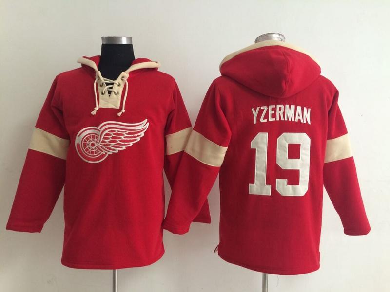 NHL Detroit Red Wings 19 Steve Yzerman Red Pullover Hooded Sweatshirt