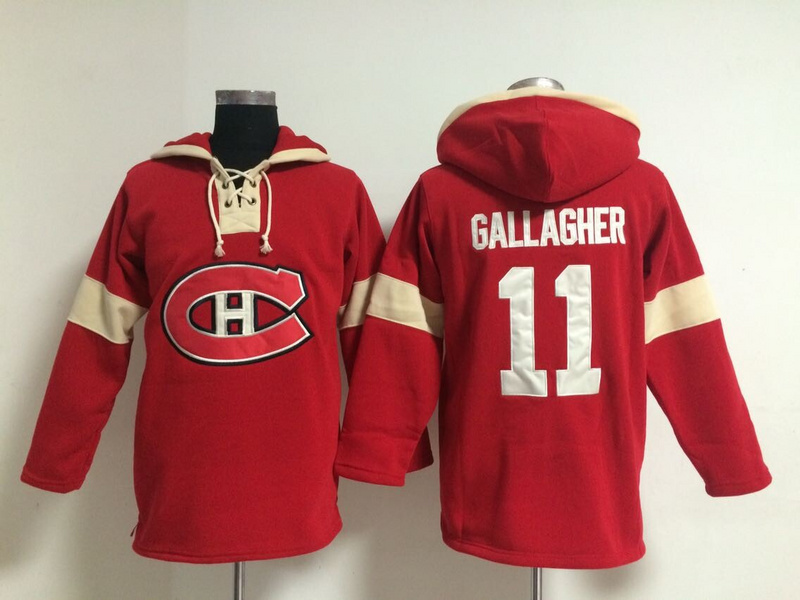 NHL Montreal Canadiens 11 Brendan Callagher Red Pullover Hooded Sweatshirt