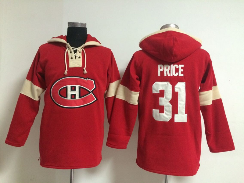 NHL Montreal Canadiens 31 Carey Price Red Pullover Hooded Sweatshirt