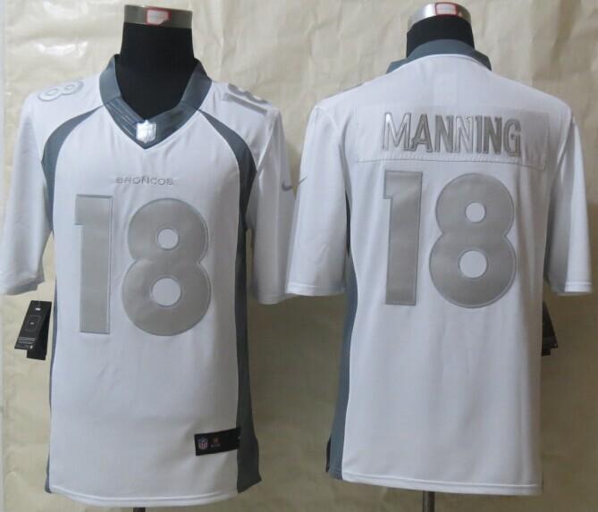 Denver Broncos 18 Manning Platinum White 2014 New Nike Limited Jerseys