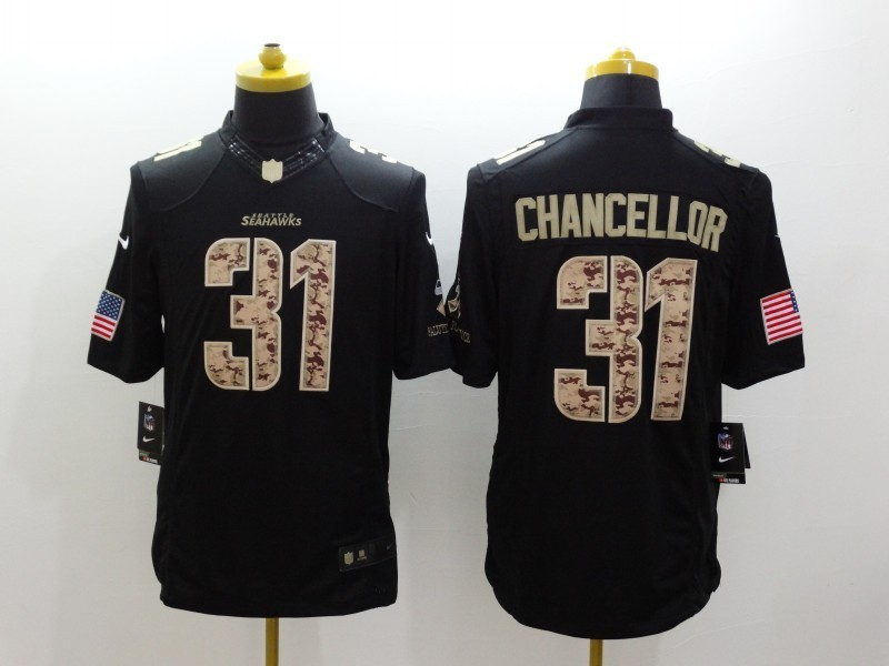 Seattle Seahawks 31 Kam Chancellor Black 2014 Nike Salute TO Service Jersey