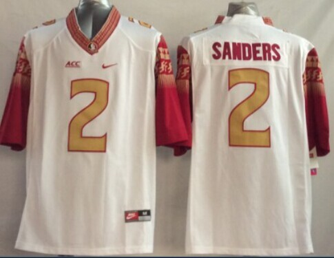NCAA Florida State Seminoles 2 Sanders White 2014 Jerseys