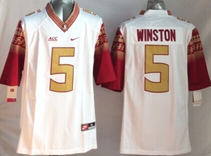 NCAA Florida State Seminoles 5 Jameis Winston White 2014 Jerseys