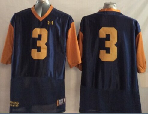 NCAA Notre Dame Fighting Irish 3 Joe Montana Techfit Blue Orange 2014 Jerseys