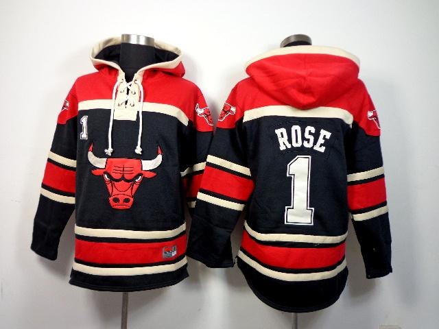 NBA Chicago Bulls 1 Derrick Rose Black Pullover Hooded Sweatshirt