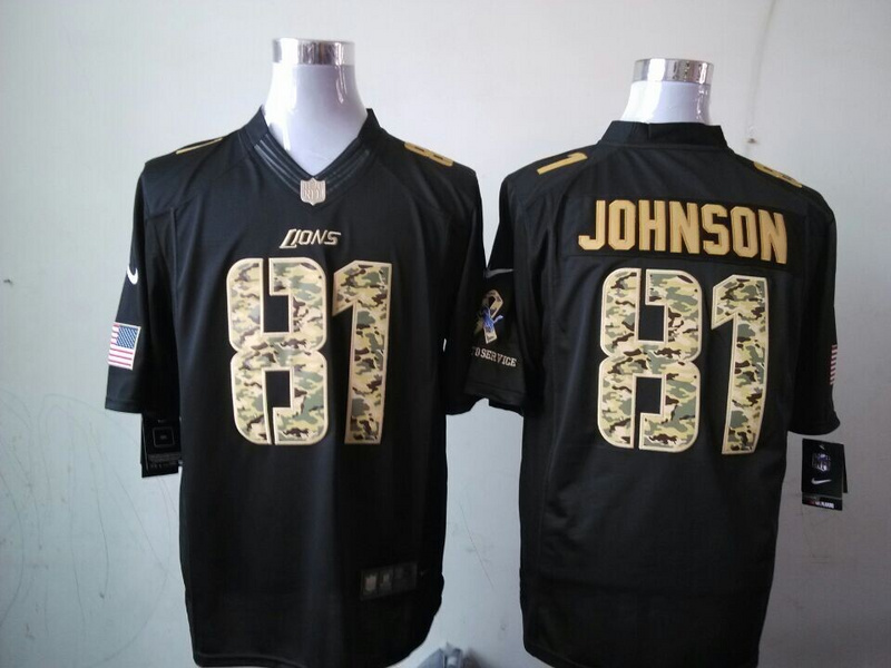 Detroit Lions 81 Calvin Johnson Black 2014 Nike Salute TO Service Jersey