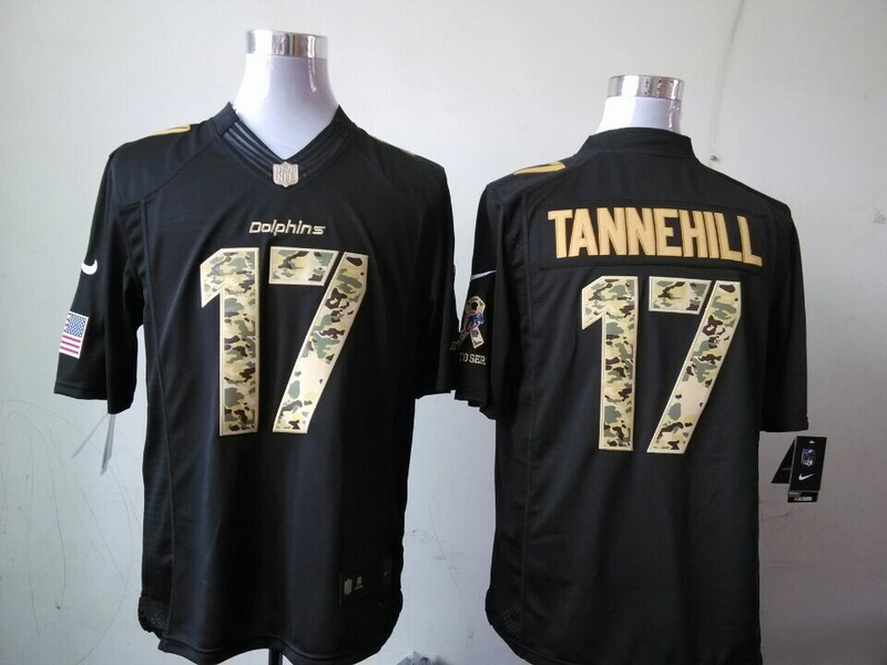 Miami Dolphins 17 Tannehill Black 2014 Nike Salute TO Service Jersey