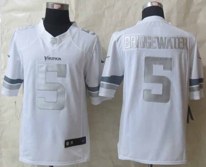 Minnesota Vikings 5 Bridgewater Platinum White 2014 New Nike Limited Jerseys