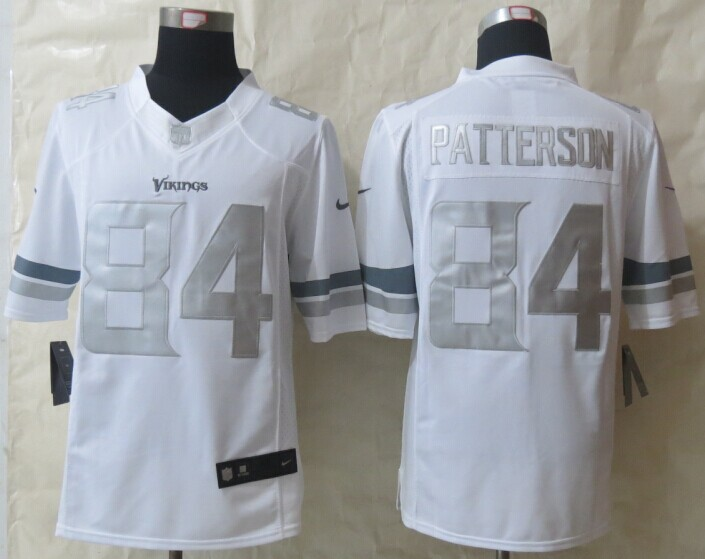 Minnesota Vikings 84 Patterson Platinum White 2014 New Nike Limited Jerseys