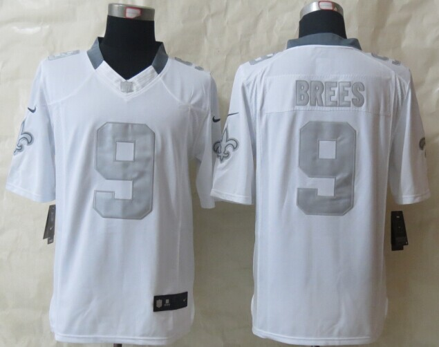 New Orleans Saints 9 Brees Platinum White 2014 New Nike Limited Jerseys