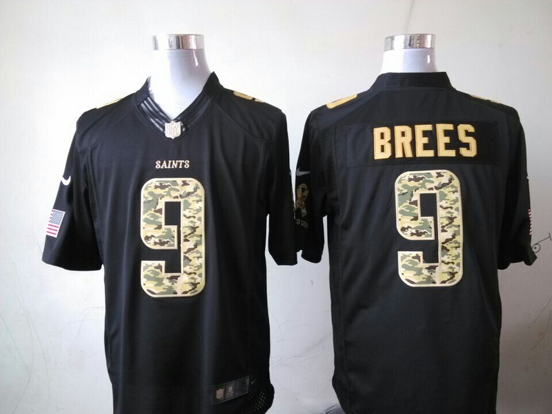 New Orleans Saints 9 Drew Brees Black 2014 Nike Salute TO Service Jersey