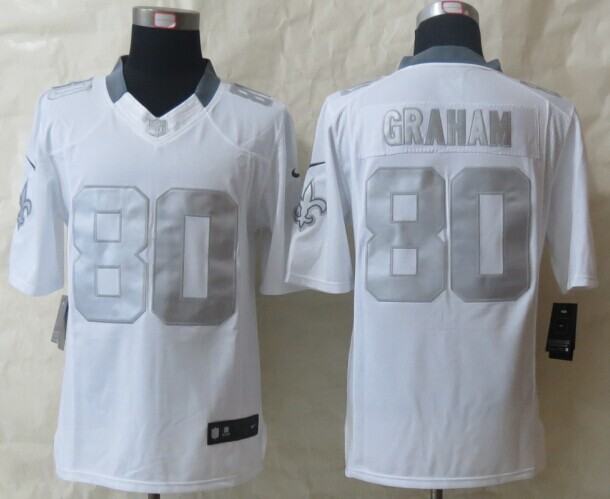 New Orleans Saints 80 Graham Platinum White 2014 New Nike Limited Jerseys