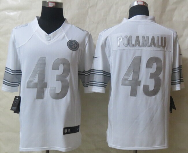 Pittsburgh Steelers 43 Polamalu Platinum White 2014 New Nike Limited Jerseys