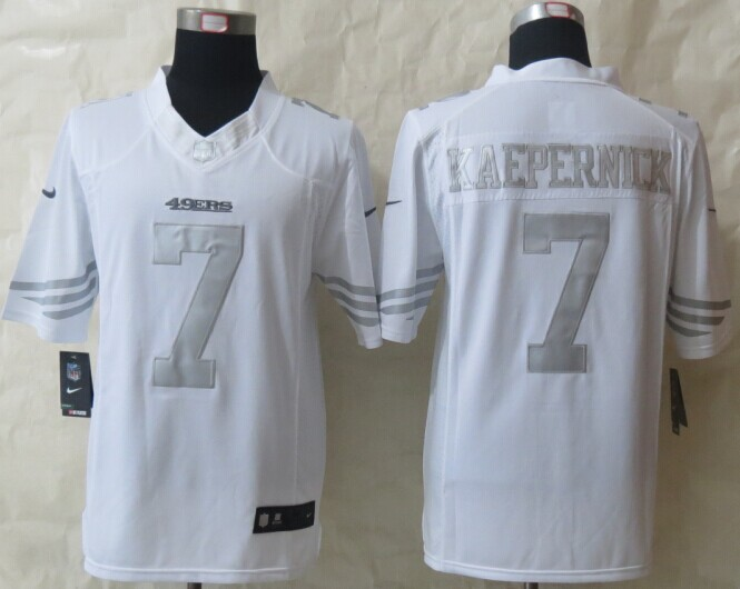 San Francisco 49ers 7 Kaepernick Platinum White 2014 New Nike Limited Jerseys