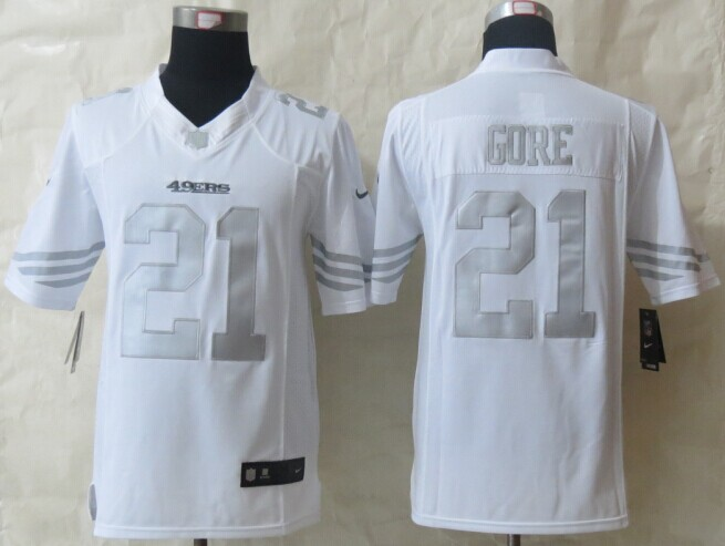 San Francisco 49ers 21 Gore Platinum White 2014 New Nike Limited Jerseys