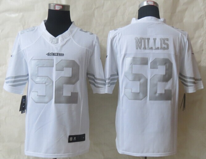 San Francisco 49ers 52 Willis Platinum White 2014 New Nike Limited Jerseys