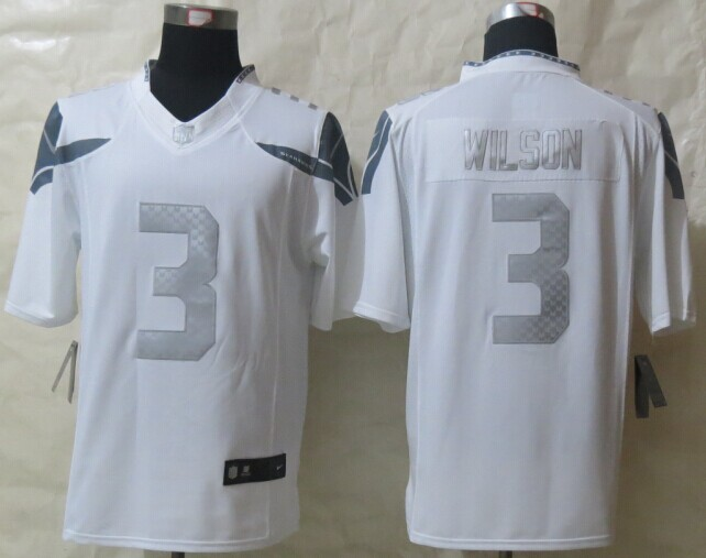 Seattle Seahawks 3 Wilson Platinum White 2014 New Nike Limited Jerseys