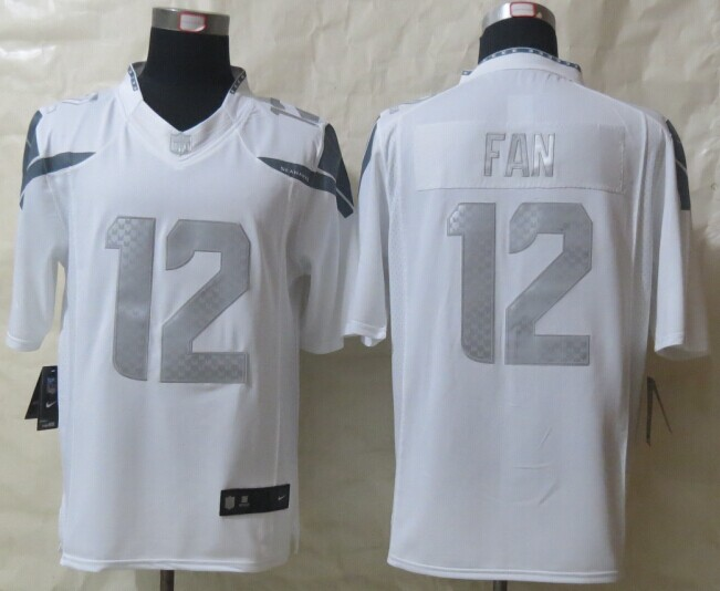 Seattle Seahawks 12 Fan Platinum White 2014 New Nike Limited Jerseys