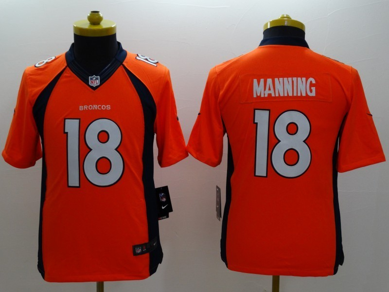 Youth Denver Broncos 18 Manning Orange 2014 Nike Limited Jerseys