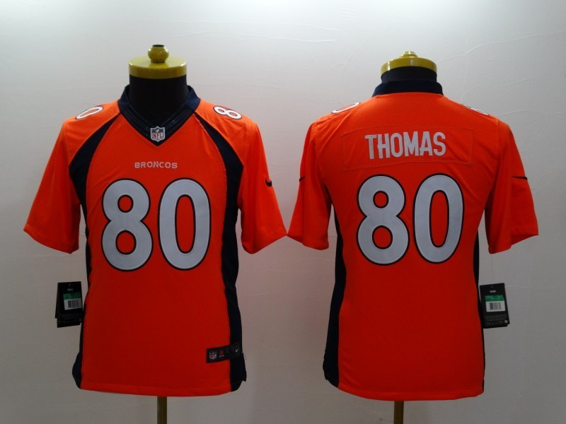 Youth Denver Broncos 80 Thomas Orange 2014 Nike Limited Jerseys