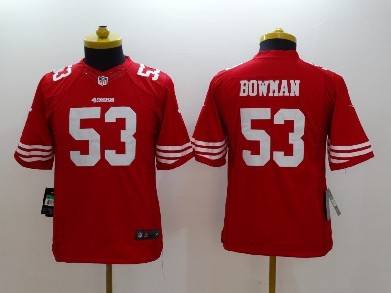 Youth San Francisco 49ers 53 Bowman red 2014 Nike Limited Jerseys