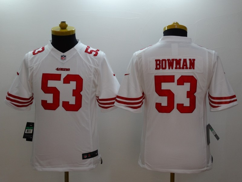 Youth San Francisco 49ers 53 Bowman White 2014 Nike Limited Jerseys
