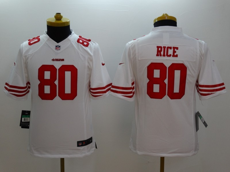 Youth San Francisco 49ers 80 Jerry Rice White 2014 Nike Limited Jerseys