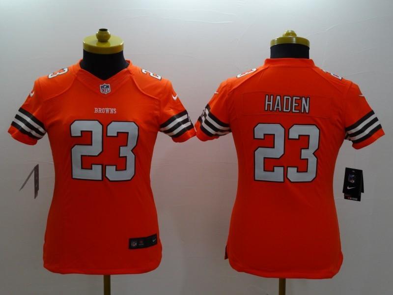 Womens Cleveland Browns 23 Haden Orange 2014 Nike Limited Jerseys