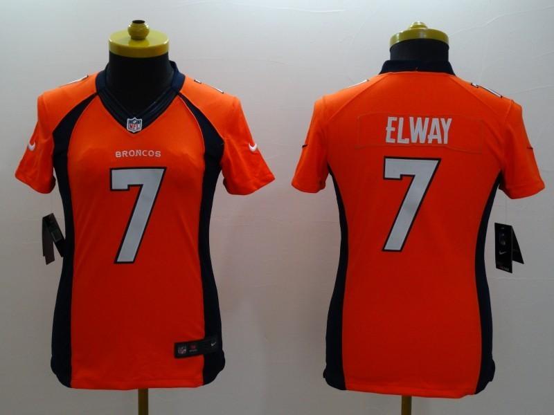 Womens Denver Broncos 7 John Elway Orange 2014 Nike Limited Jerseys