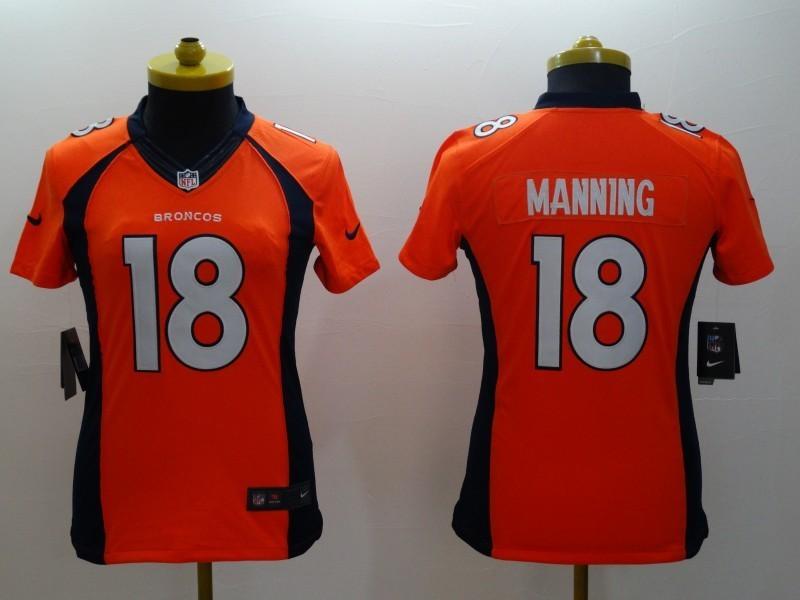 Womens Denver Broncos 18 Peyton Manning Orange 2014 Nike Limited Jerseys