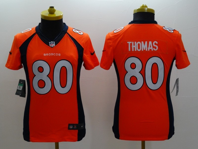 Womens Denver Broncos 80 Thomas Orange 2014 Nike Limited Jerseys