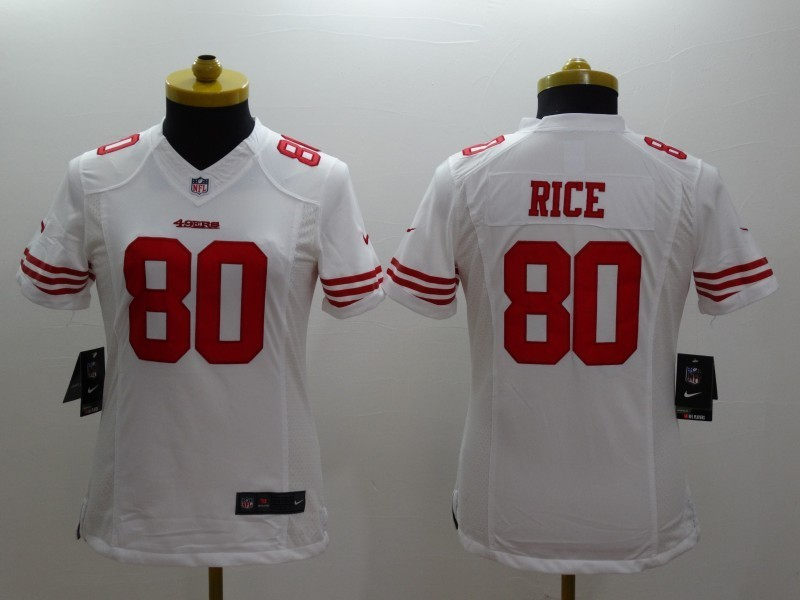 Womens San Francisco 49ers 80 Jerry Rice White 2014 Nike Limited Jerseys