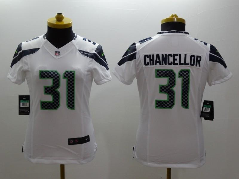 Womens Seattle Seahawks 31 Kam Chancellor White 2014 Nike Limited Jerseys
