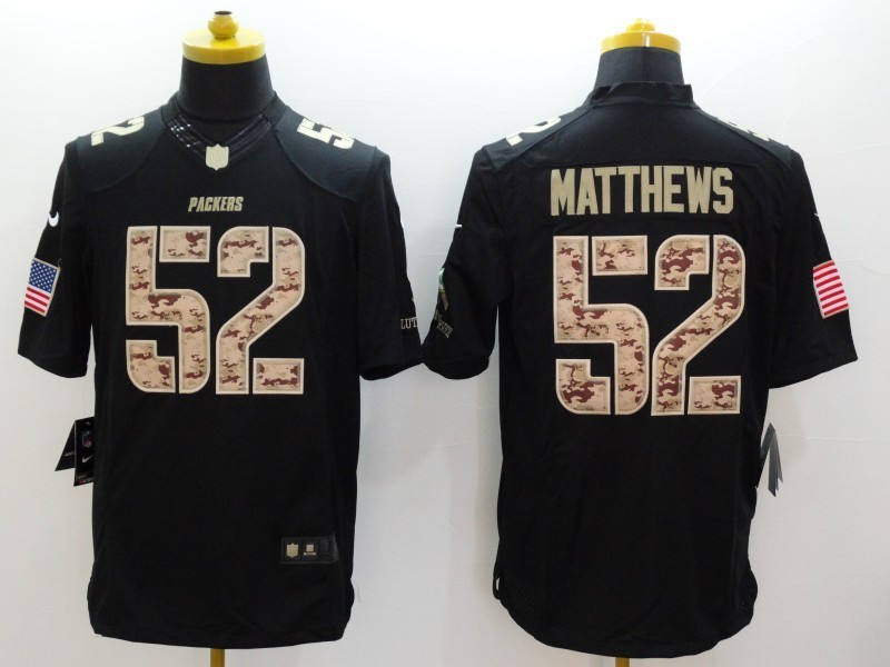 Green Bay Packers 52 Clay Matthews Black 2014 Nike Salute TO Service Jersey