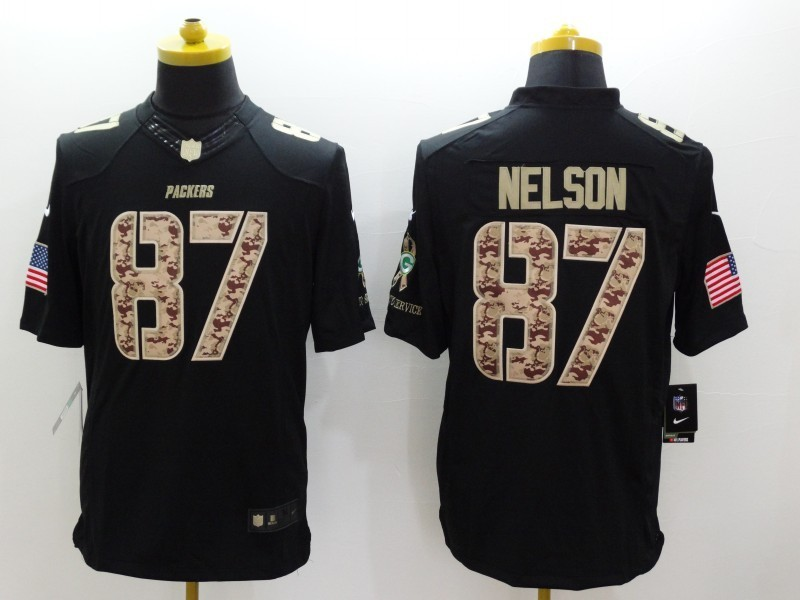 Green Bay Packers 87 Jordy Nelson Black 2014 Nike Salute TO Service Jersey