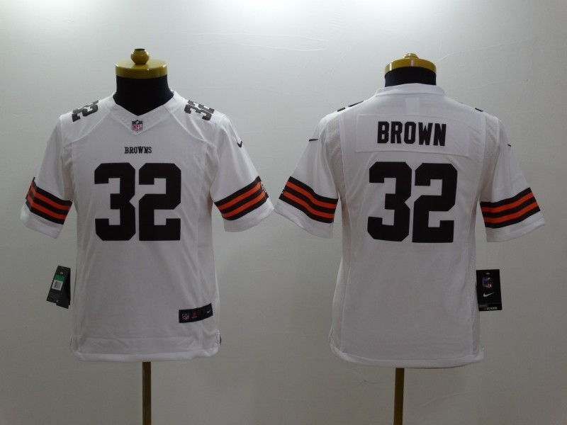 Youth Cleveland Browns 32 Brown White 2014 New Nike Limited Jerseys