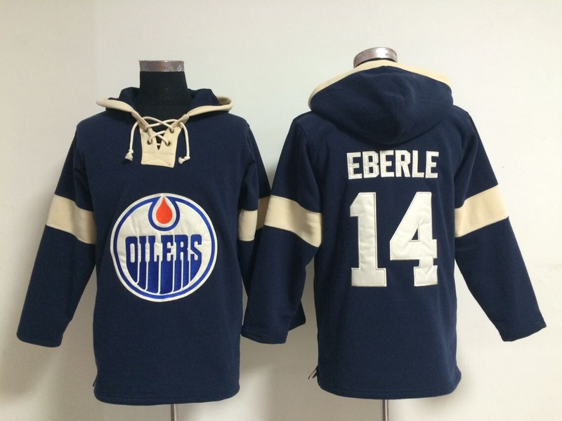 NHL Edmonton Oilers 14 Jordan Eberle Blue Pullover Hooded Sweatshirt